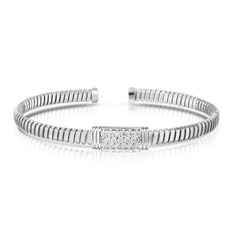 Royal Chain Silver Tubogas White CZ Cuff