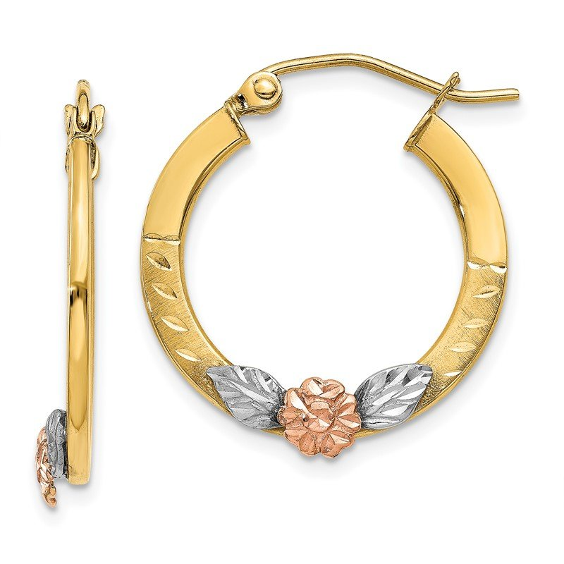 Quality Gold 14K Yellow & Rose Gold w/ Rhodium Diamond Cut Flower Hoop Earrings