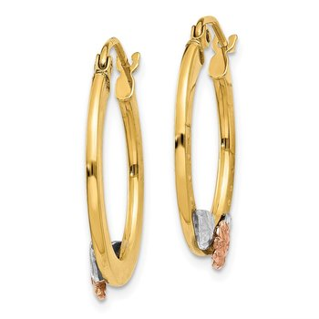 14K Yellow & Rose Gold w/ Rhodium Diamond Cut Flower Hoop Earrings