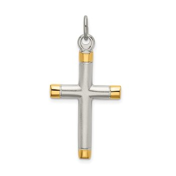 Sterling Silver Polished Gold-plated Tips Cross pendant