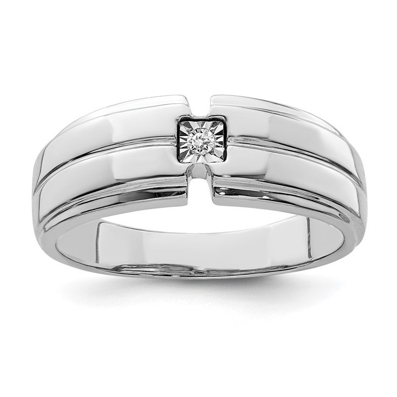 Quality Gold Sterling Silver Rhodium Men's Polished Diam. Ring