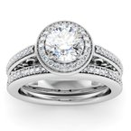 California Coast Designs Antique Design Halo Engagement Ring with Matching Wedding Band
