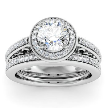 Antique Design Halo Engagement Ring with Matching Wedding Band