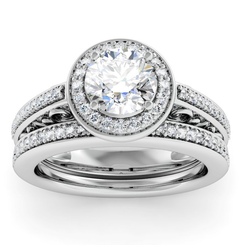 Motif Signature Antique Design Halo Engagement Ring With Matching