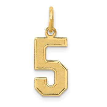 14k Medium Satin Number 5 Charm