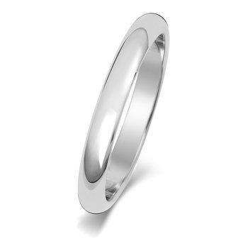 Platinum 2.5mm D Shape Wedding Ring