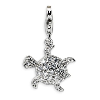 Sterling Silver Rhodium-plated CZ Sea Turtle with Lobster Clasp Charm