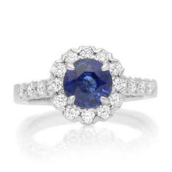 Round Cut Sapphire Halo Ring