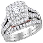 Bellissimo 14kt White Gold Womens Round Diamond Bellissimo Double Square Halo Bridal Wedding Engagement Ring Band Set 1-1/4 Cttw