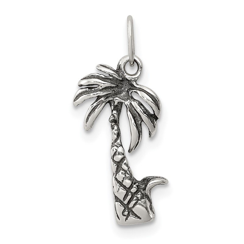 Quality Gold Sterling Silver Antiqued Palm Tree Charm