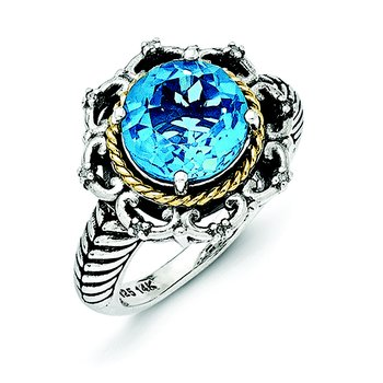 Sterling Silver w/14k Antiqued Blue Topaz and Diamond Ring