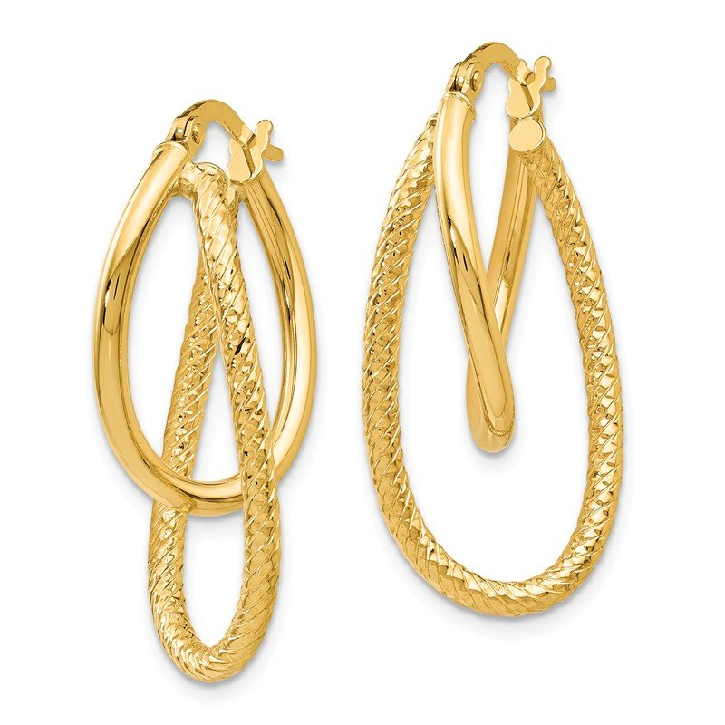 Leslie's Leslie's 14K Polished and Textured Hinged Hoop Earrings
