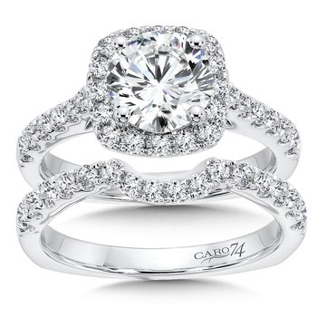 Halo Engagement Ring with Side Stones in 14K White Gold (1-1/2ct. tw.)
