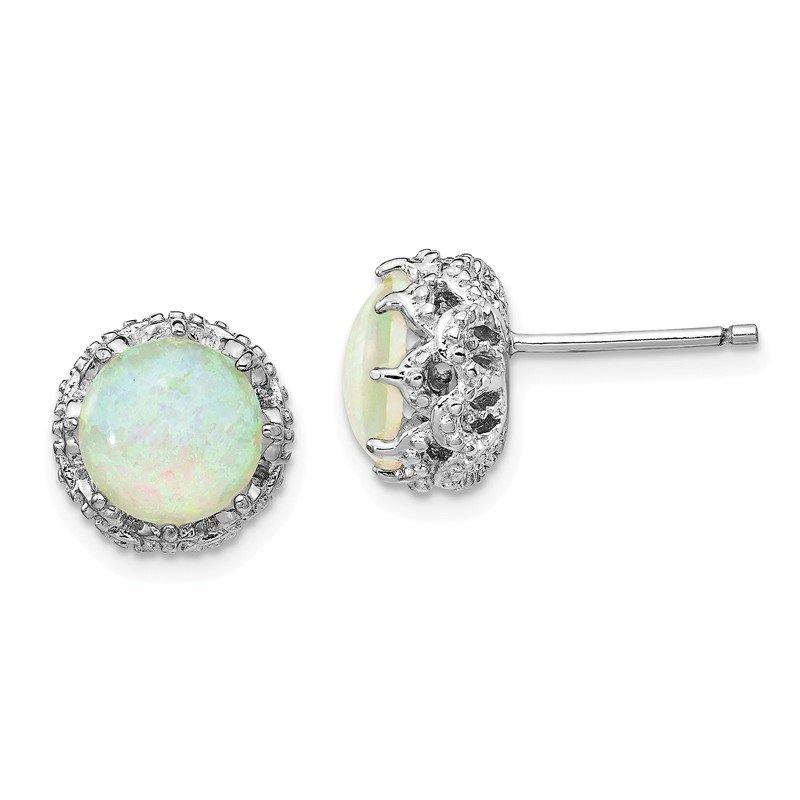 Cheryl M Cheryl M SS Lab Created White Opal Stud Earrings