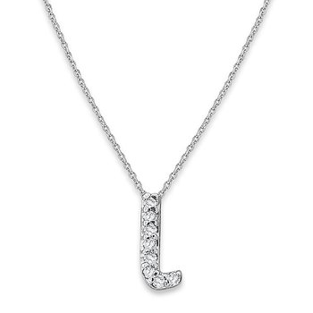 "Diamond Baby Typewriter Initial ""L"" Necklace in 14k White Gold with 8 Diamonds weighing .05ct tw."