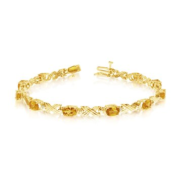 14K Yellow Gold Oval Citrine and Diamond Bracelet