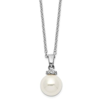 Sterling S Majestik Rh-plated 8-9mm Wht Imitat Shell Pearl CZ Necklace