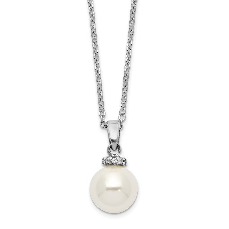 Quality Gold Sterling S Majestik Rh-plated 8-9mm Wht Imitat Shell Pearl CZ Necklace
