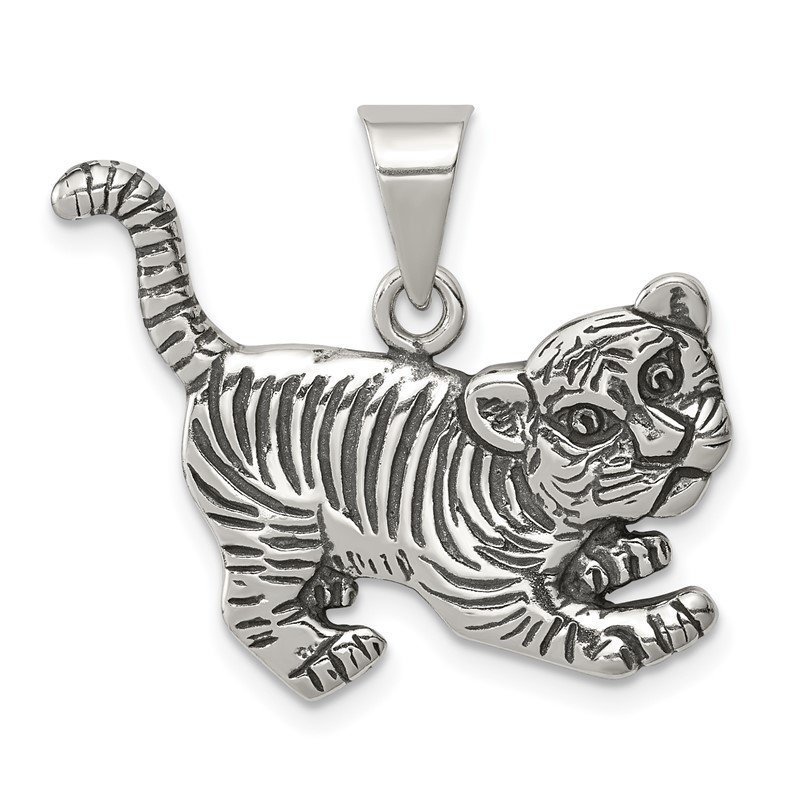 Quality Gold Sterling Silver Antiqued Tiger Charm