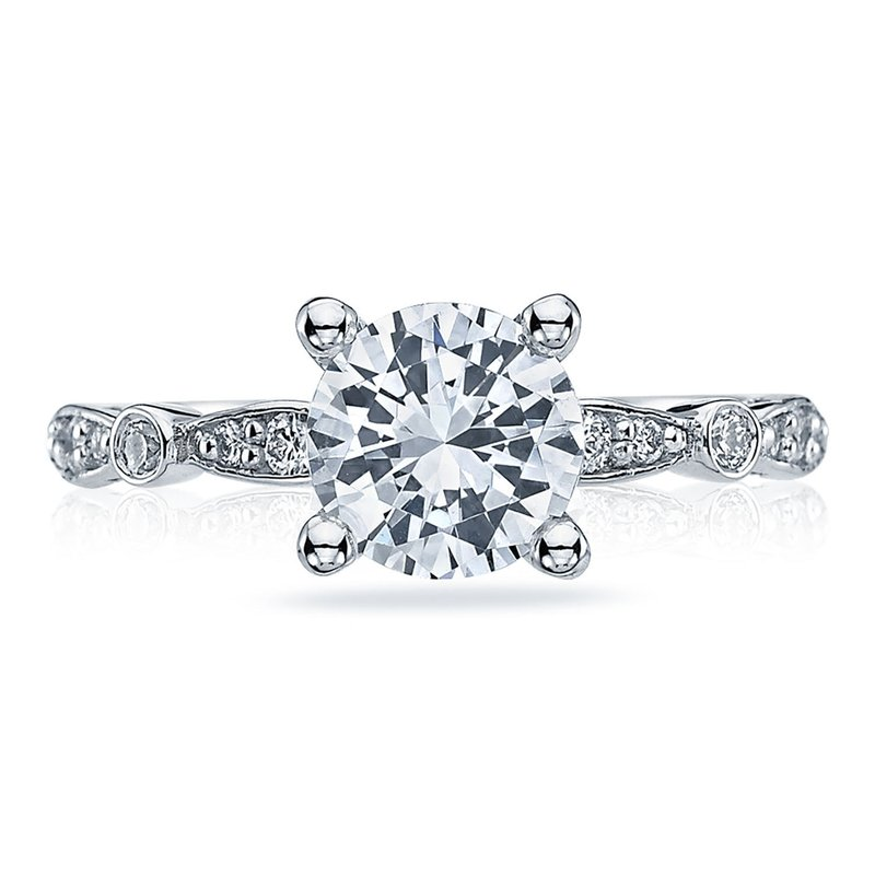 Tacori Sculpted Crescent Round Platinum Engagement Ring