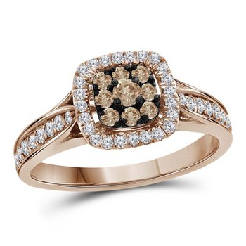 14kt Rose Gold Womens Round Brown Diamond Cluster Bridal Wedding Engagement Ring 1/2 Cttw