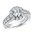 Valina Bridals Round halo mounting  1.20 ct. tw.,  1 ct. round center.