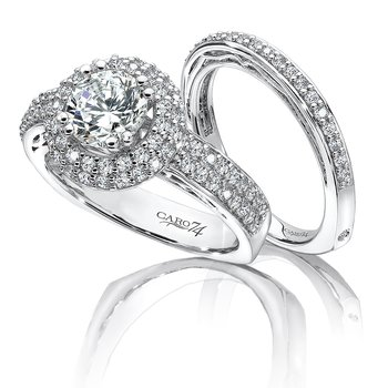 Halo Engagement Ring in 14K White Gold with Platinum Head (1ct. tw.)