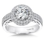 Caro74 Halo Engagement Ring in 14K White Gold with Platinum Head (1ct. tw.)