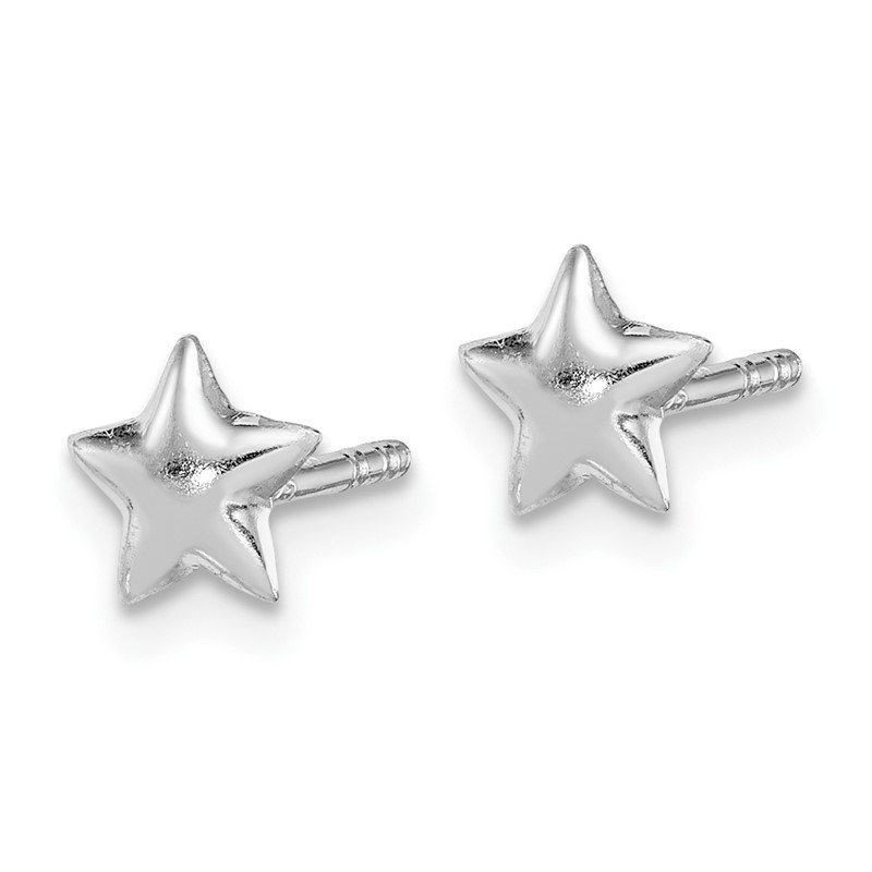 Quality Gold Sterling Silver RH Plated Child's Polished Star Post Earrings