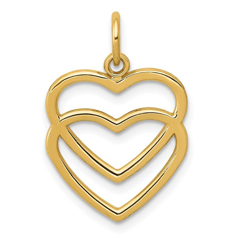 Arizona Diamond Center Collection 14K Polished Double Heart Pendant