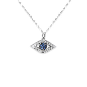 Blue Sapphire And Diamond Evil Eye Necklace in 14k White Gold with 26 Diamonds weighing .22ct tw