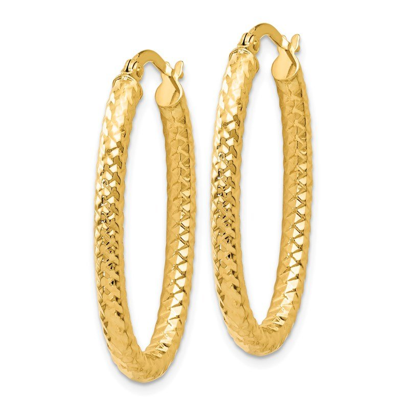Leslie's Leslie's 14K ForeverLite Polished and Textured Oval Hoop Earrings