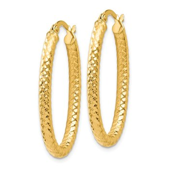 Leslie's 14K ForeverLite Polished and Textured Oval Hoop Earrings