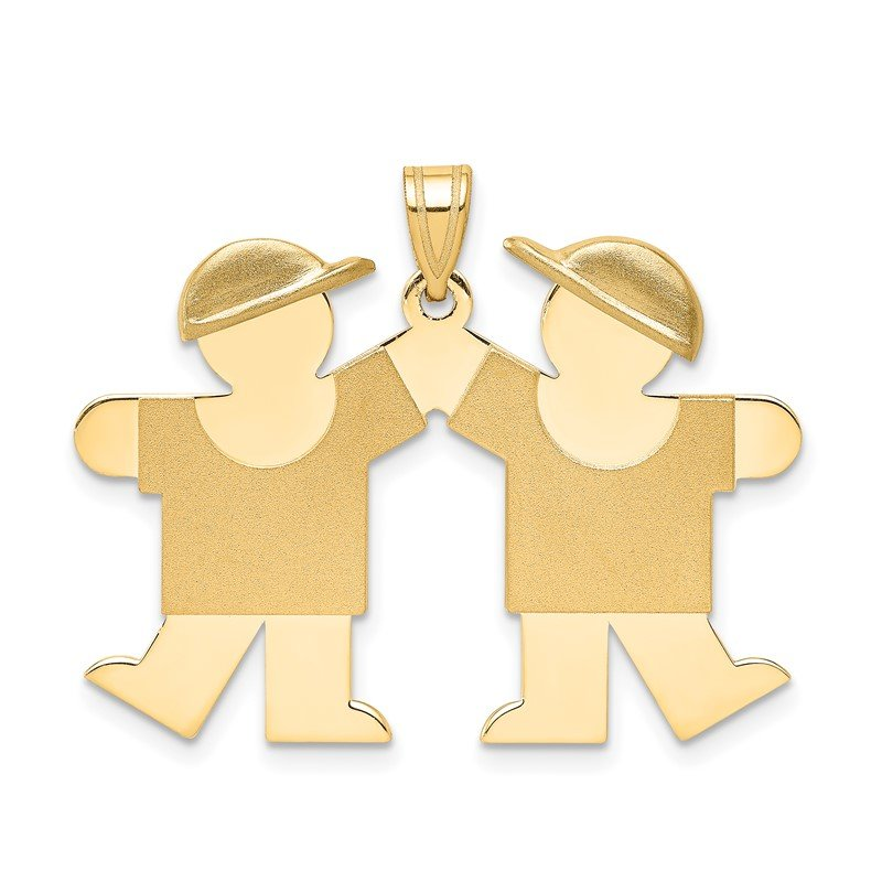 Quality Gold 14k Solid Engravable Double Boys Charm