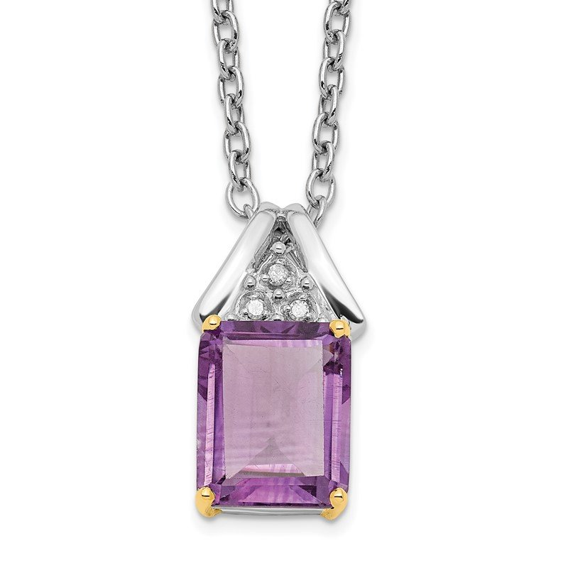 Fine Jewelry by JBD SS & 14k True Two-tone Amethyst and Diamond Necklace