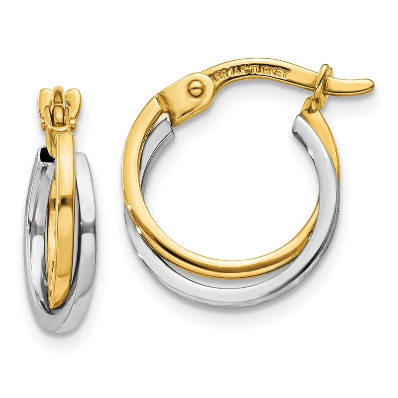 Quality Gold 14k Two-tone Polished Hollow Hoop Earrings