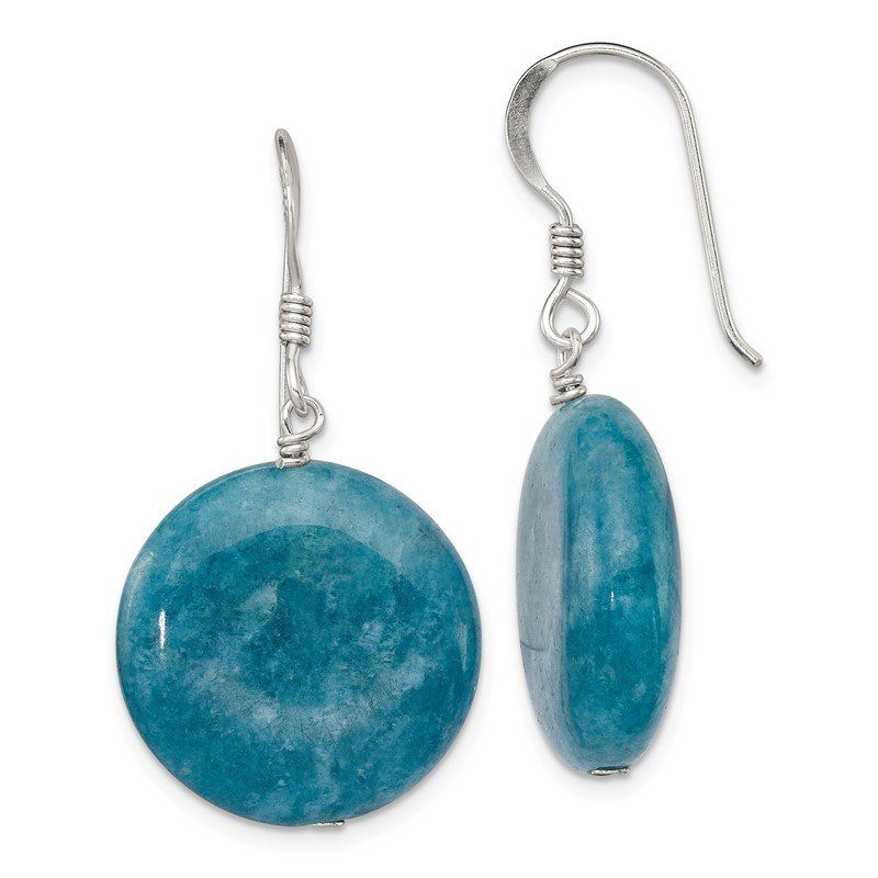 Quality Gold Sterling Silver Blue Agate Earrings