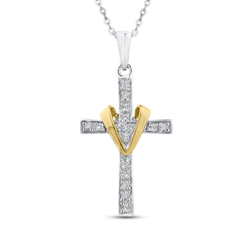 1/10 Ct Diamond Cross Pendant with Chain