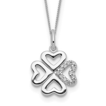 Sterling Silver CZ 4-Leaf Clover Necklace