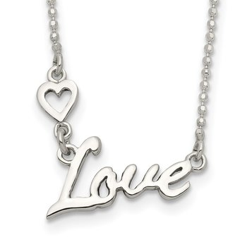 Sterling Silver Polished LOVE w/Heart Necklace
