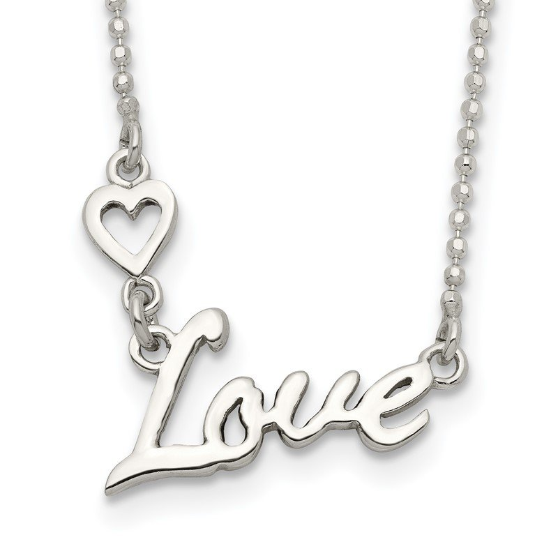 Quality Gold Sterling Silver Polished LOVE w/Heart Necklace
