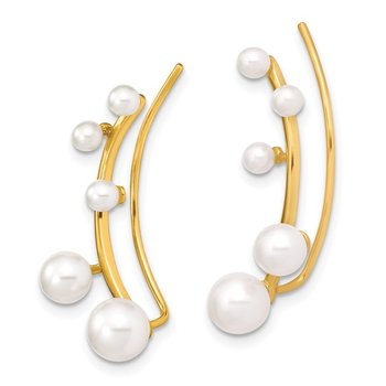 Sterling Silver Gold-tone 3-6mm White FWC Pearl Ear Climber Earrings
