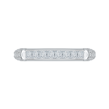 18K White Gold Princess & Round Diamond Wedding Band