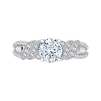 Carizza Round Diamond Engagement Ring In 14K White Gold (Semi-Mount)