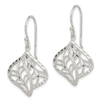 Sterling Silver Diamond-cut Leaf Dangle Earrings