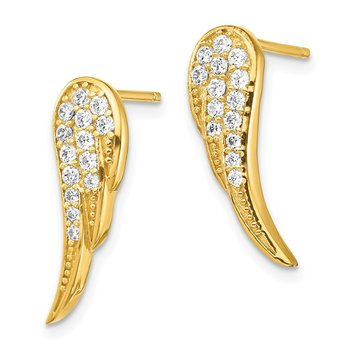 Sterling Silver Gold-tone CZ Wings Post Earrings