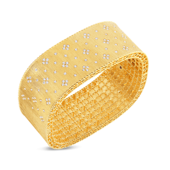 18KT GOLD SATIN FINISH WIDE BANGLE WIT FLEUR DE LIS DIAMONDS