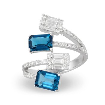 London Blue Topaz Bypass Ring 18KW