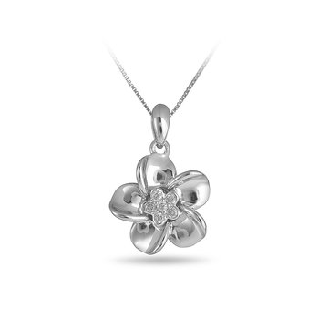 925 SS & Diamond Flower Pendant with Cluster Center