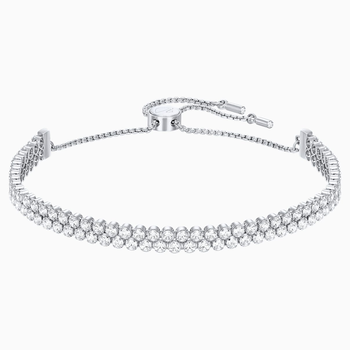 Subtle Bracelet, White, Rhodium plated
